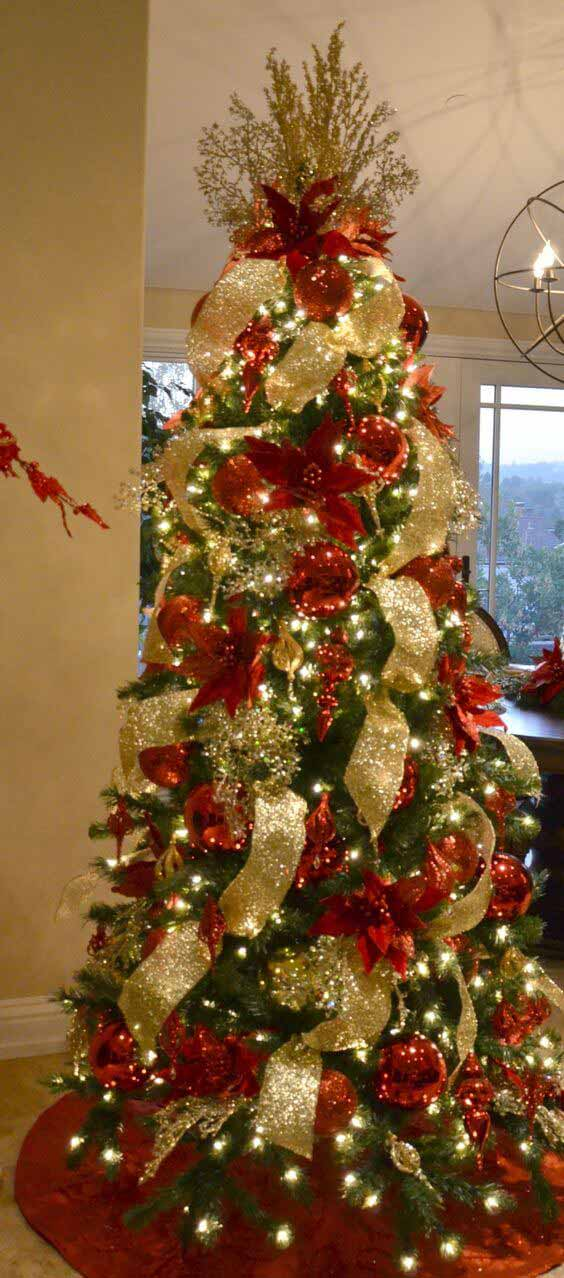 Christmas tree decorated with big globes