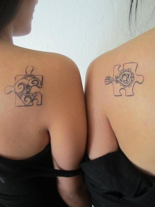 key and lock friendship puzzle tattoo symbols