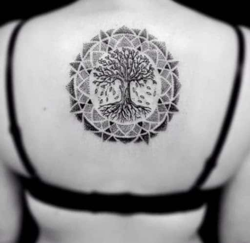 mandala art bodhi tree tattoo on back for females