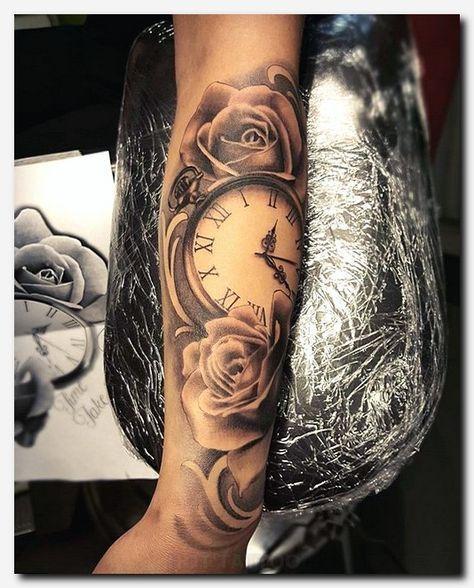 female half sleeve roses and clock tattoo design