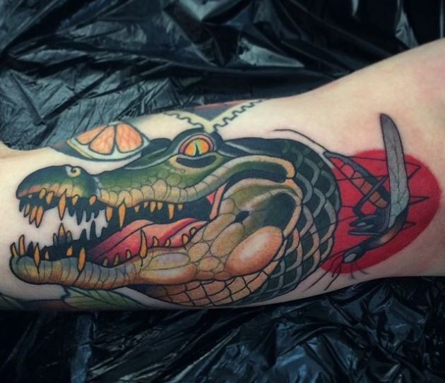 killer crocodile tattoo design