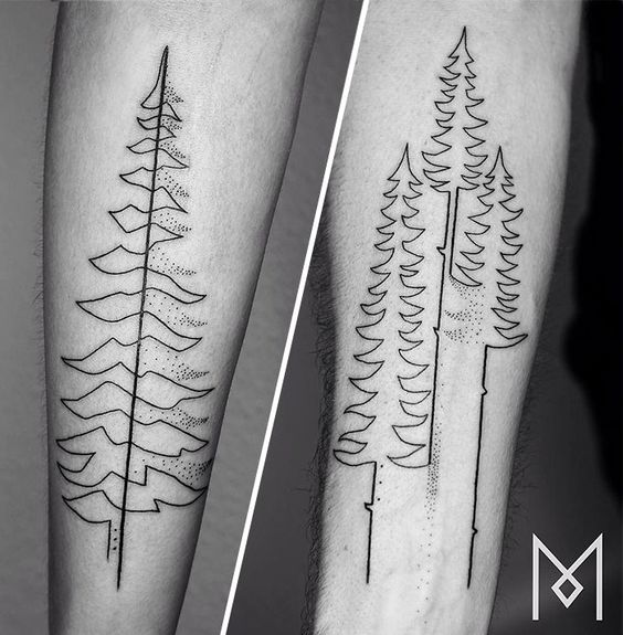 oneline evergreen tree tattoo designs