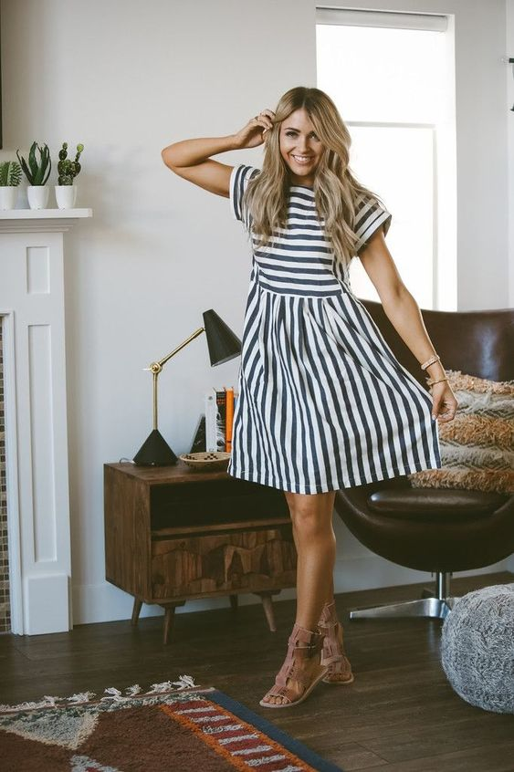 blue and ivory striped cotton dress