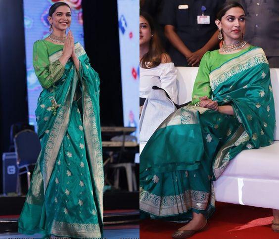 DeepikaPadukone Green Saree