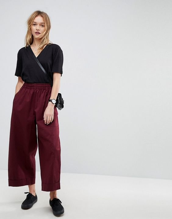 balloon fit wide leg chinos