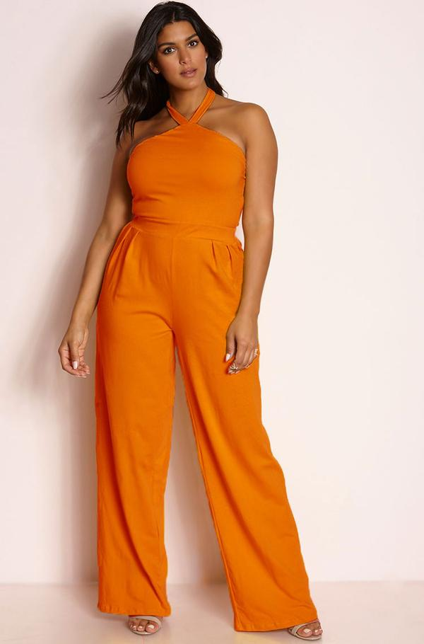 orange pleated jumpsuit for plus size women