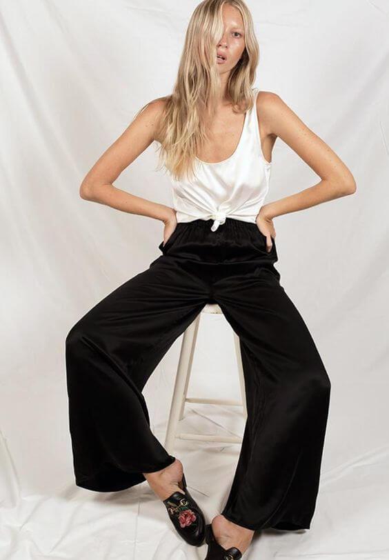 silk laundry wide leg black pant