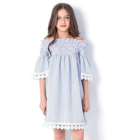 teen girls off shoulder pleated stripped summer dress