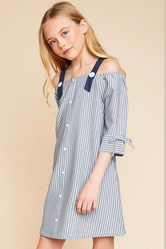 teen girls off shoulder stripped dress