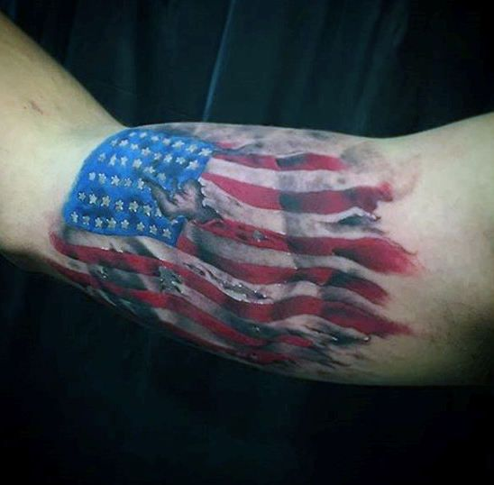 3d american flag tattoo on men arm