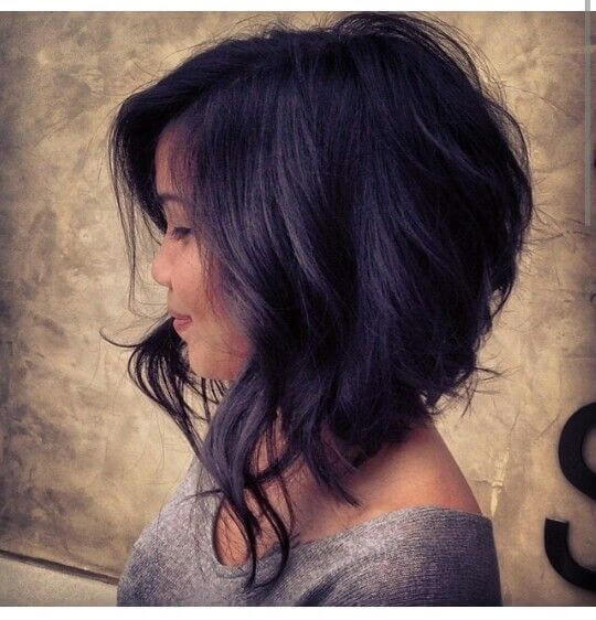 medium length thick inverted bob hairstyle
