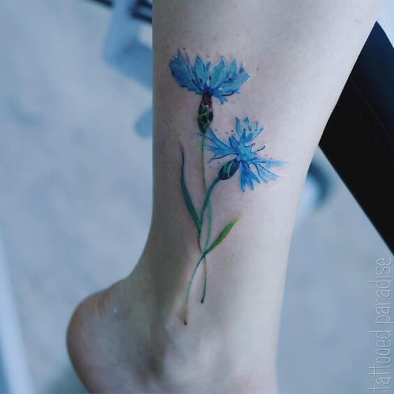 cornflower tattoo design on ankle for girls