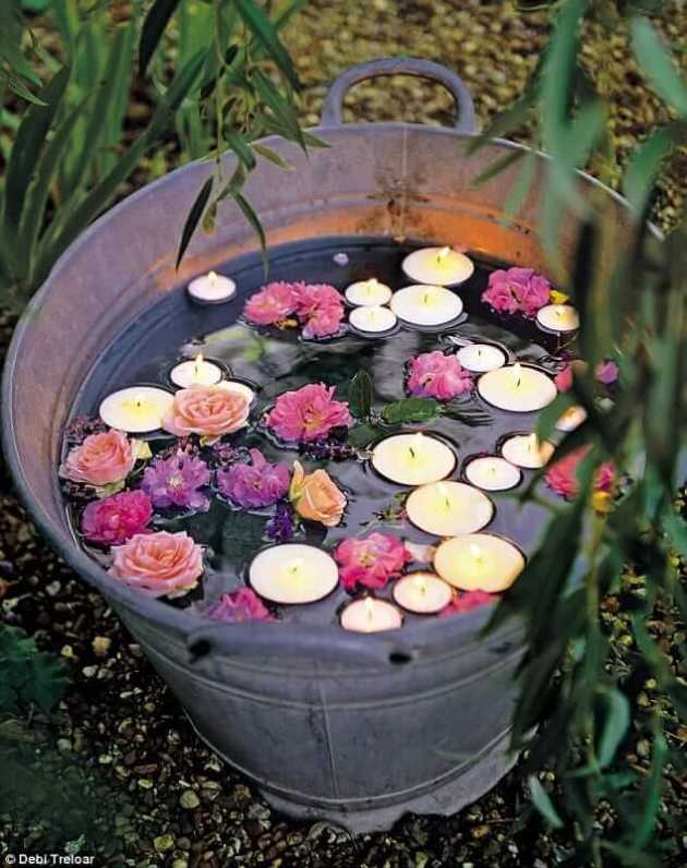 floating candles for garden party lighting