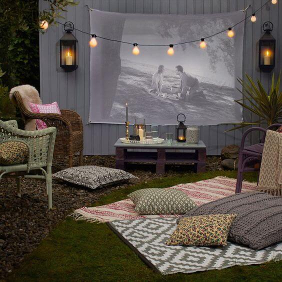 outdoor movie theater ideas for summer party entertainment