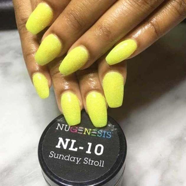 yellow dip powder nails