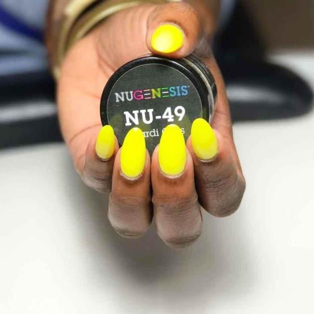 yellow mardi gras powder nails