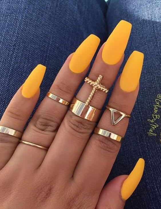 yellow matte nails