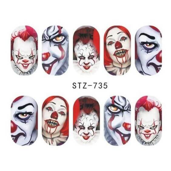 halloween clown nail decals