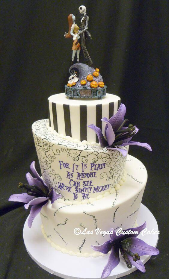 corpse bride halloween wedding cake