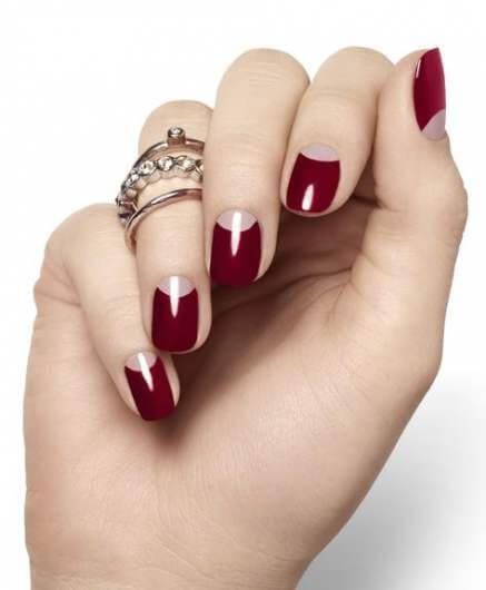 dark red moon nail designs