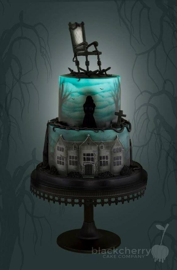 haunted house with rocking chair halloween wedding cake