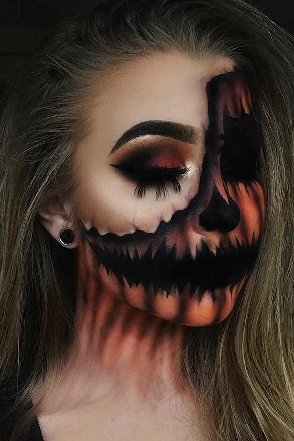 illusion pumpkin halloween makeup