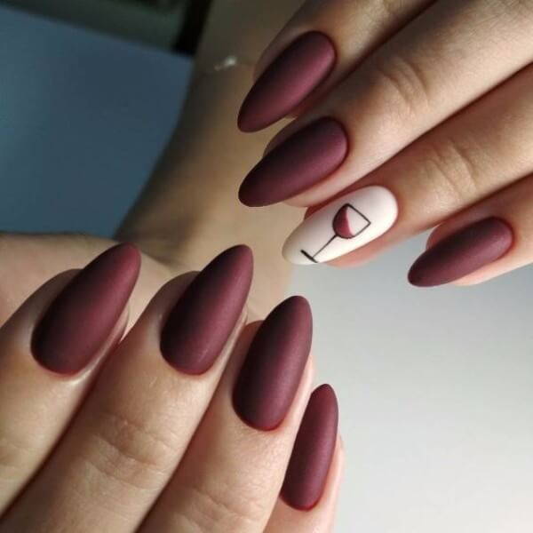 matte coffin nail art designs with wine glass