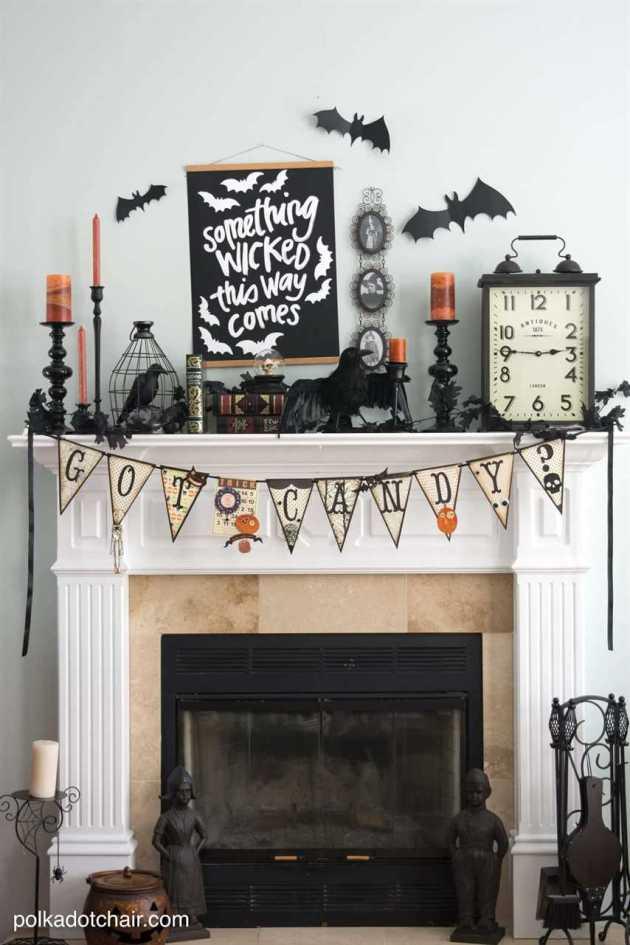 spooky halloween fireplace decoration ideas
