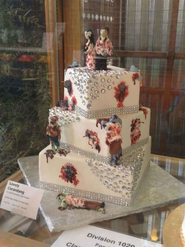 square dead zombies halloween wedding cake