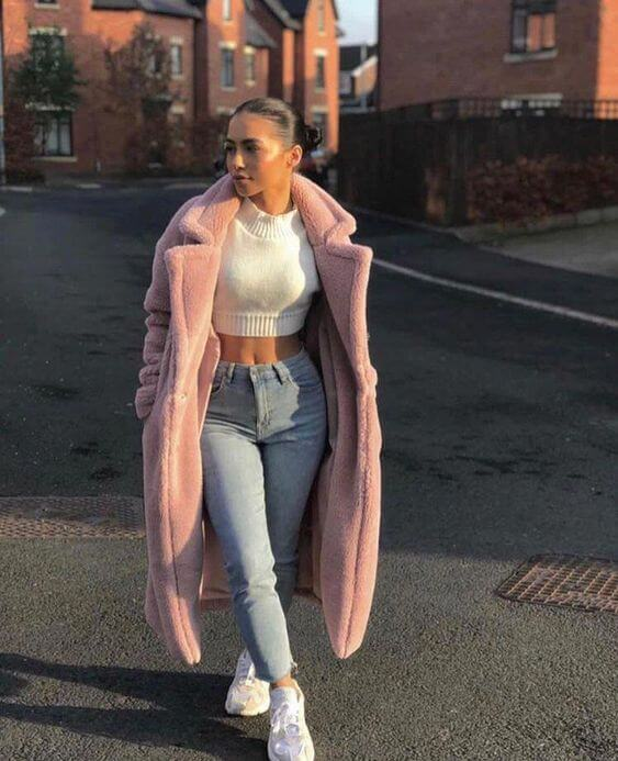 casual fur coat outfit ideas for winter