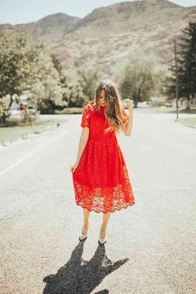 red lace christmas church dress ideas for women