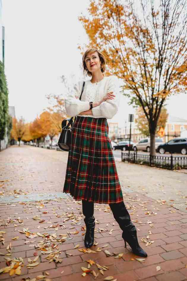 tartan skirt with white sweater christmas outfit ideas for women