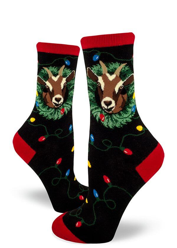 funny goat with christmas lights stockings