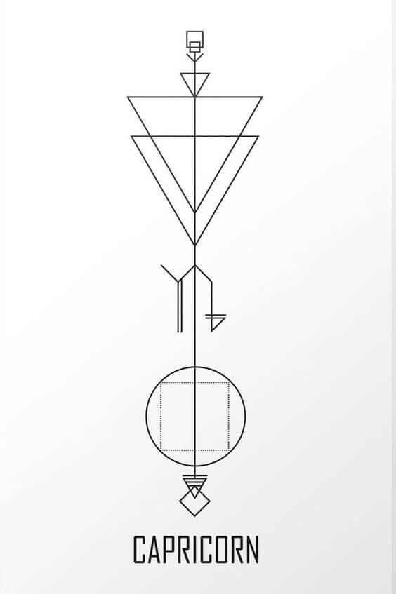 geometric capricorn tattoo drawing