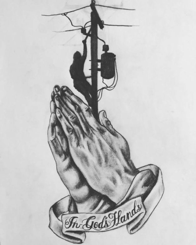 in gods hands tattoo banner drawing ideas with praying hands for electricians