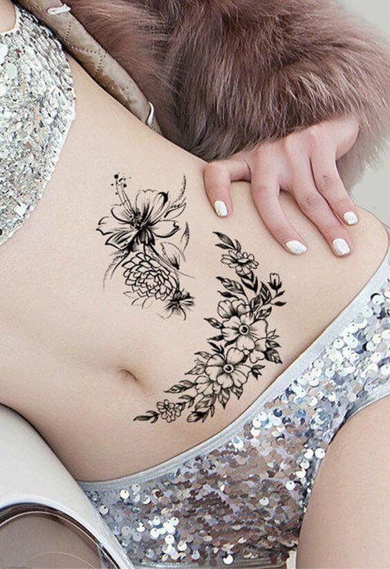 tummy tuck scars flower tattoos for women