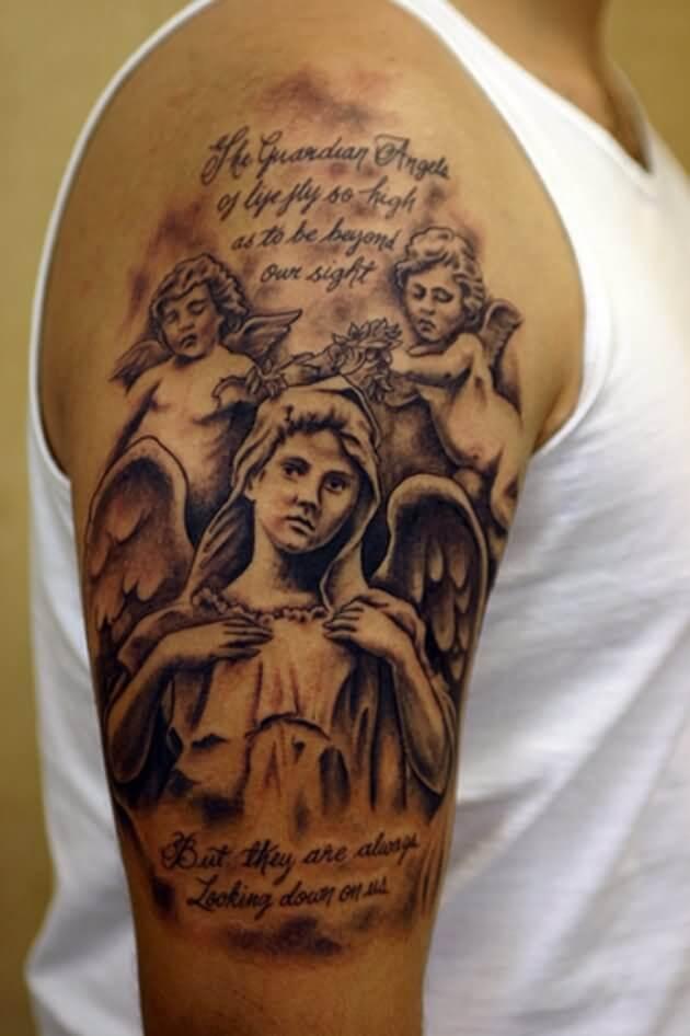 half sleeve guardian angel with bible verse tattoo
