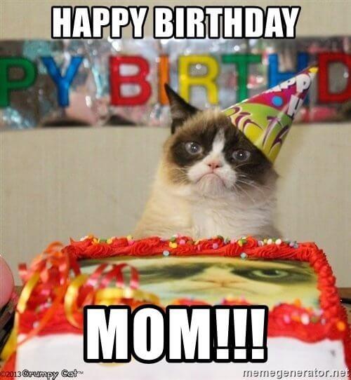 grumpy cat happy birthday mom meme