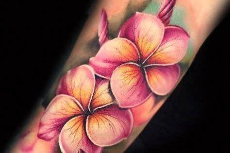 3d colorful jasmine flower tattoo design