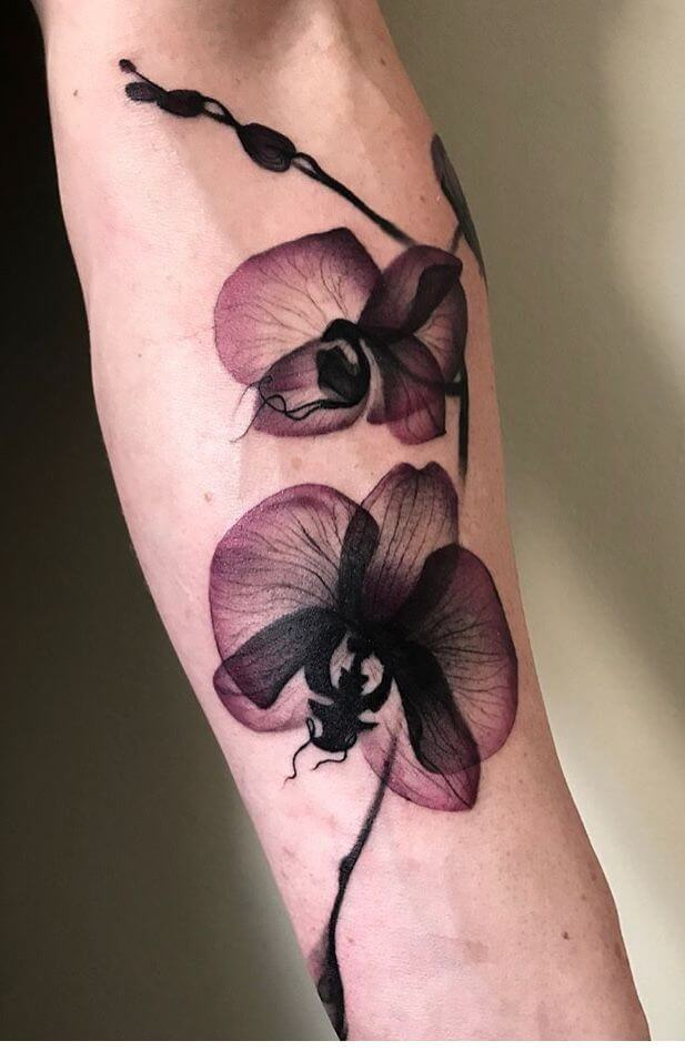 amazing transparent orchid flower tattoo design on forearm
