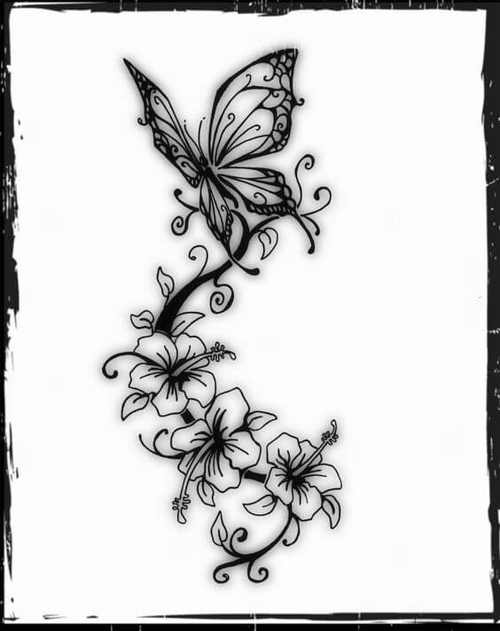 butterfly and jasmine flower tattoo sketch