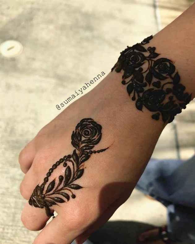 roses henna bracelet design