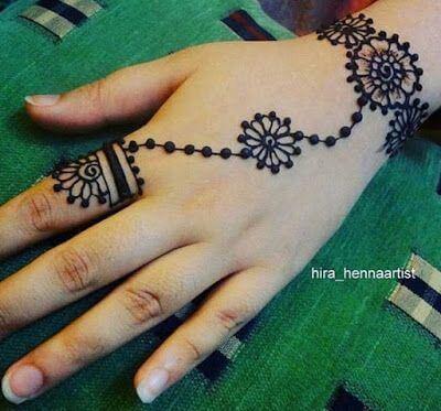 simple floral henna bracelet design
