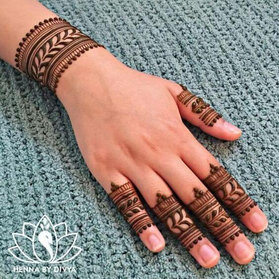 simple leafy bridal bracelet mehndi design