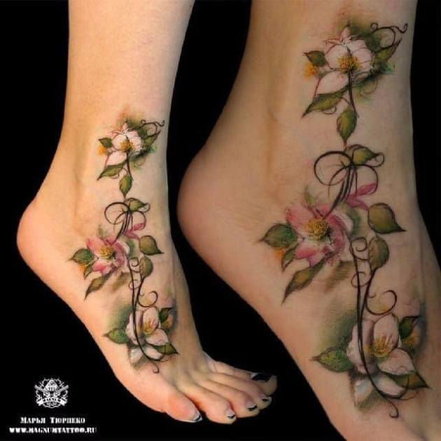 white pink jasmine flower tattoo design