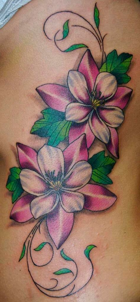 3d jasmine flower tattoo design on thigh