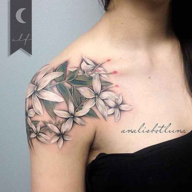 white jasmine flowers tattoo design on shoulder