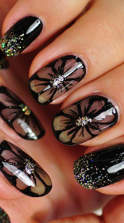 black floral nail art 2020