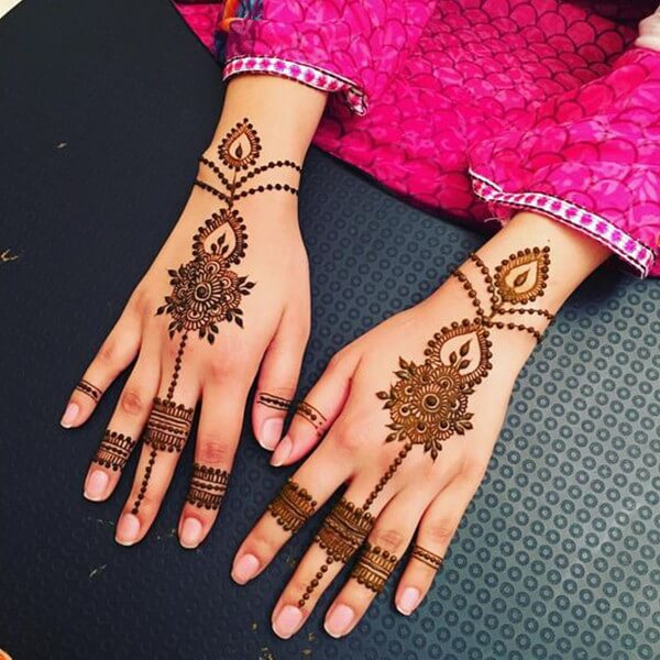 classic pakistani-indian chain mehndi design