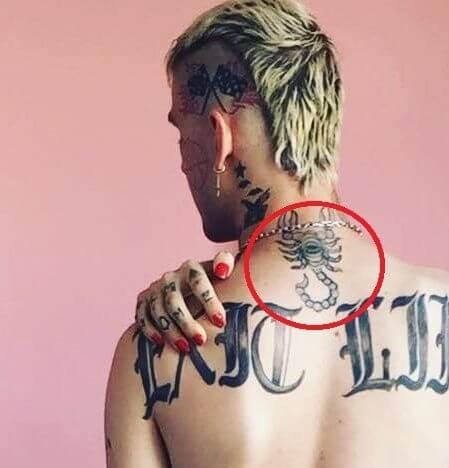 lil peep scorpion tattoo on back neck